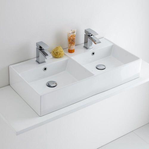 Milano Dalton White Modern Double Rectangular Countertop Basin 820mm X 420mm 2 Tap Holes Basin Double Basin Eclectic Bathroom Design