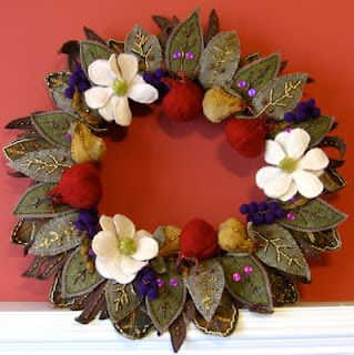 Della Robia Wooly Wreath - it was fun to design this wool felted wreath for Christmas 2011.