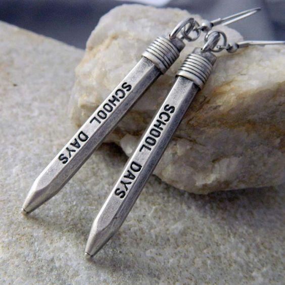 School Days Pencil Teacher Earrings by WireNWhimsy on Etsy, $10.00