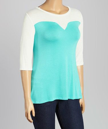 Love this Mint & White Color Block Top - Plus by Hug Plus on #zulily! #zulilyfinds