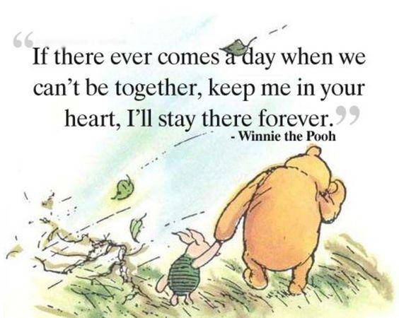 Si llega el día en que no podamos estar juntos, manténme en tu corazón, me quedaré ahí para siempre