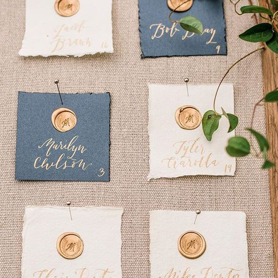 These escort cards are one of my all time favorite projects. Custom wax seals stamped on hand made, deckled edge paper with gold calligraphy names - is there a better combo?! Loved collaborating with the incredibly talented @sinclairandmoore on this and all of the other gorgeous paper details from this island wedding. Photo by @ryanflynnphoto