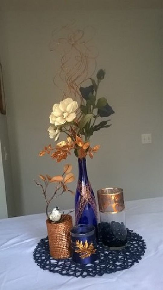 Beautiful copper and navy centerpeices