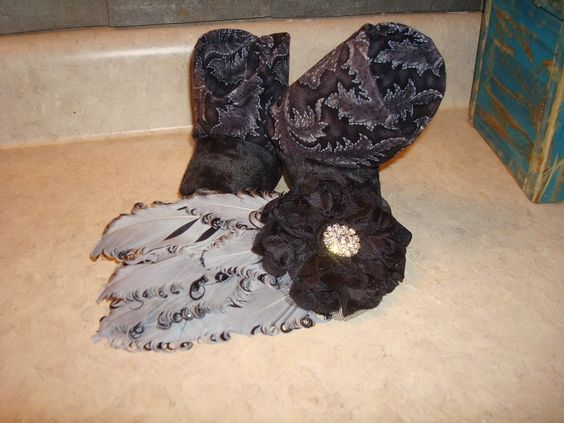 Black and Gray Baby Boots with Matching Headband, Infant Boots, Western boots, Feather Headband by RusticAttitude on Etsy