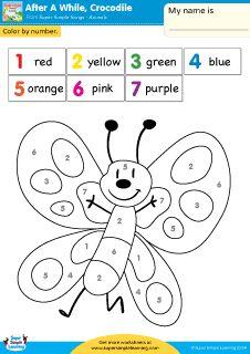 math worksheet : after a while crocodile quot; simple color by number worksheet from  : Esl Worksheets Kindergarten