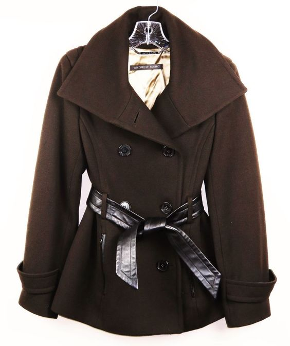 ANDREW MARC DOUBLE BREASTED SHAWL COLLAR PEACOAT BELTED BROWN SIZE 4 #AndrewMarc #Puffer