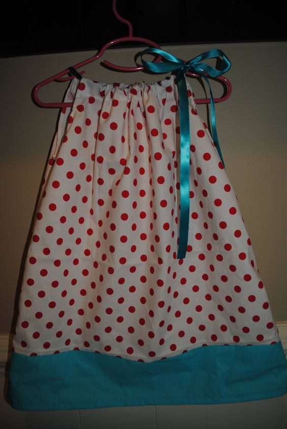 Dresses for girls - Pillowcase Dress - Girls polka dot tie dresses unique one of a kind boutique handmade aline  by rufflesandbowties on Etsy