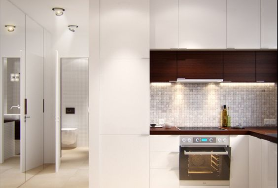 Extraordinary Small Spaces in Apartment Provides Compatible Place : Small Spaces Design For Brown White Kitchen Modern Oven