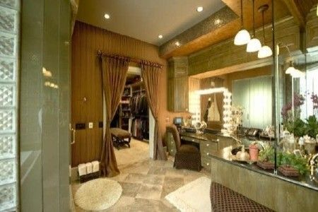 Love the drapes going into the dressing room Like the bath and dressing room linked together.