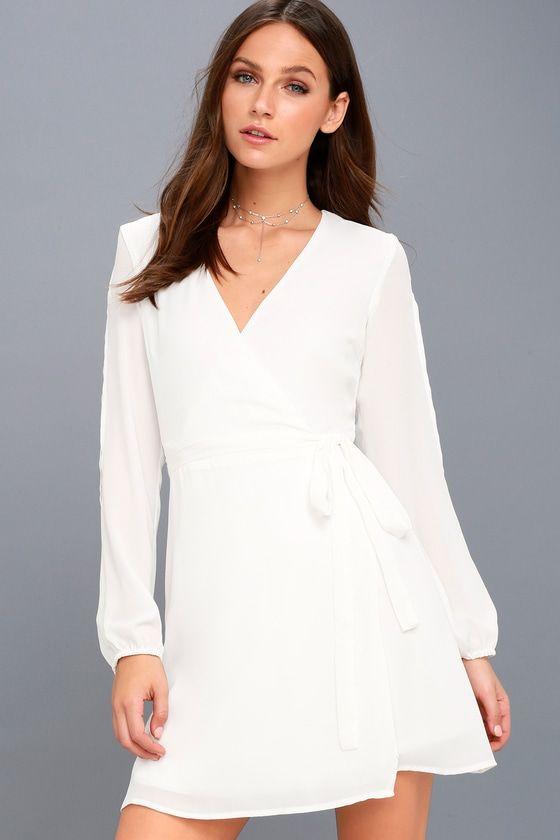 Told You So White Long Sleeve Wrap Dress White Long Sleeve Wrap Dress Long Sleeve Wrap Dress White Long Sleeve Dress