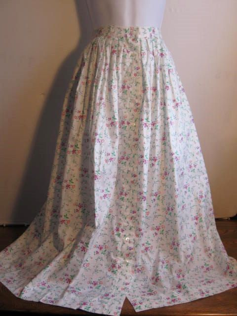 Vintage Cotton Floral Gathered Skirt size 8  #Craftshout