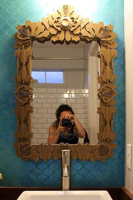 such a cool idea baroque style mirror using shapes that