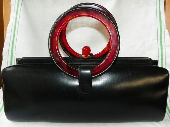 1940s Original by HOLZMAN Box Purse ~ Leather & Faux Tortoise