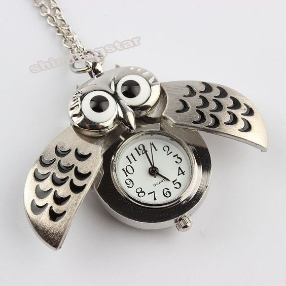 Cute Night Owl Vintage Pocket Watch Pendant Long Necklace - Save 50% Off