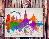 Items similar to London City Art Print - Original Watercolor Painting on Etsy, a global handmade and vintage marketplace.