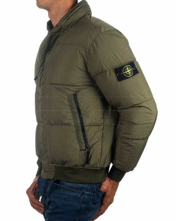 Musk Green Stone Island C Down Jacket Grament Dyed Crinkle