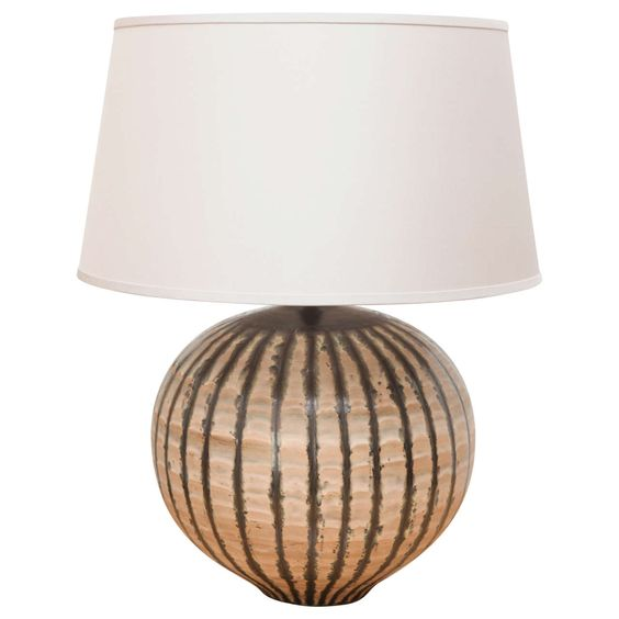 Large Ceramic Table Lamp by Harrison McIntosh with Custom Silk Shade | From  a unique collection