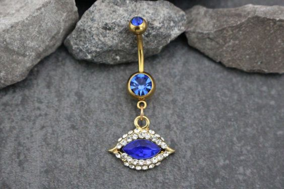 Evil Eye Belly Ring  Gold Navel Jewelry  Dangle Body by MyBodiArt