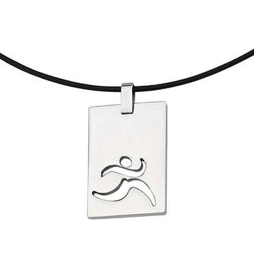 Stainless Steel Runner Cut Out Pendant - Item SRN140-18 | REEDS Jewelers