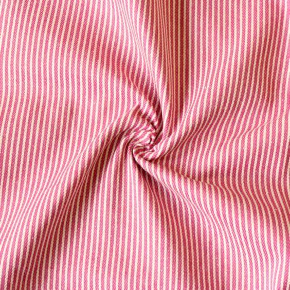 100% Baumwolle Denim Jeans Stoff gestreift Farbe Fuchsia-Weiss