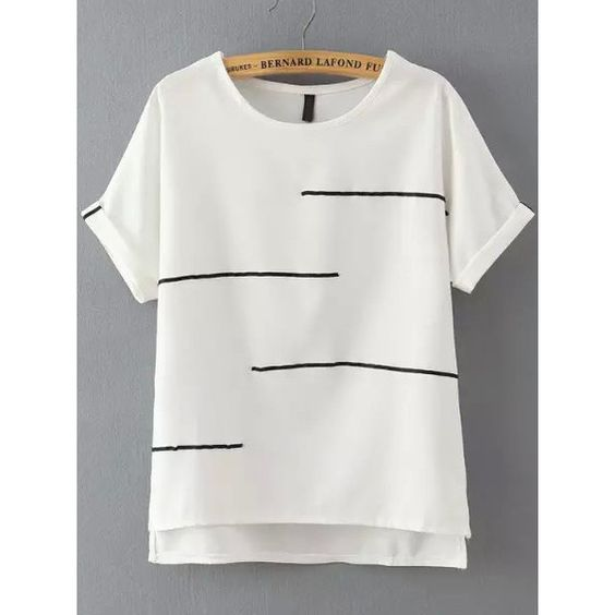 SheIn(sheinside) White Short Sleeve Striped Dip Hem T-Shirt ($13) ❤ liked on Polyvore featuring tops, t-shirts, white, stripe tee, white tops, stripe t shirt, short sleeve tees and white stripes t shirt