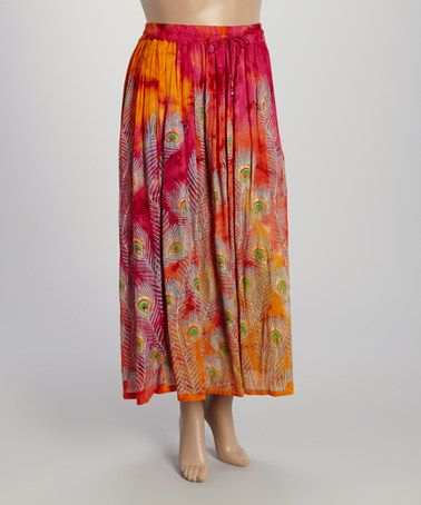Another great find on #zulily! Pink & Orange Peacock Feather Maxi Skirt - Plus by Highness NYC #zulilyfinds