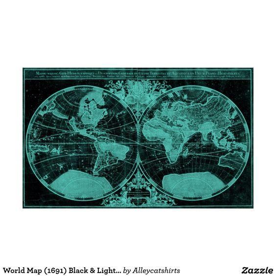 World Map (1691) Black & Light Blue Poster