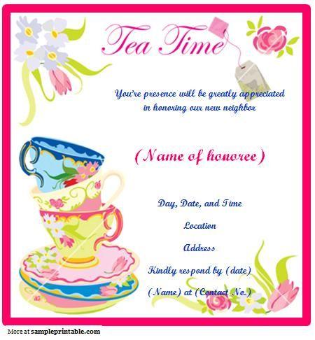 Tea Party invite inspired by the shape of a tea bag! Description - picnic invitation template