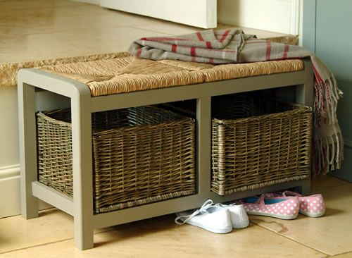 Hallway Storage Bench With Square Wicker Baskets Great For Shoe Storage I Don 39 T Really Like