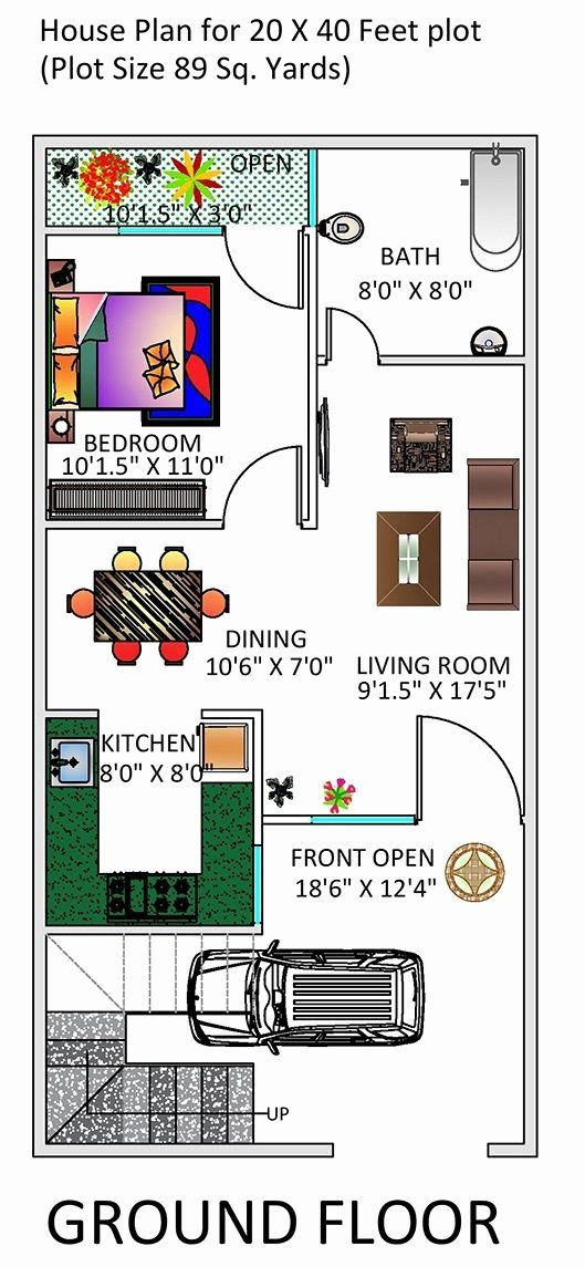 20 By 40 House Plans Beautiful 1 Bhk Floor Plan For 20 X 40 Feet Plot 800 Square Feet In 2020 House Plans 20x40 House Plans Kitchen Floor Plans