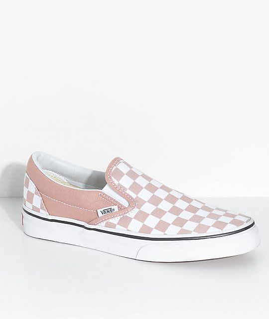 Vans Classic Slip On Rose Checkered Shoes in 2020 | Vans