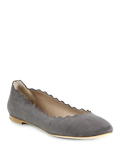gray suede scalloped ballet flat