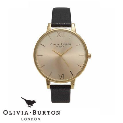 Olivia Burton アナログ腕時計 ★関税/送料込★Olivia Burtonブラック&ゴールドWATCH