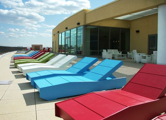Loll Designs Chaise 405 sun beds with adjustable backs. Chicago, IL rooftop. AMLI 900 building.