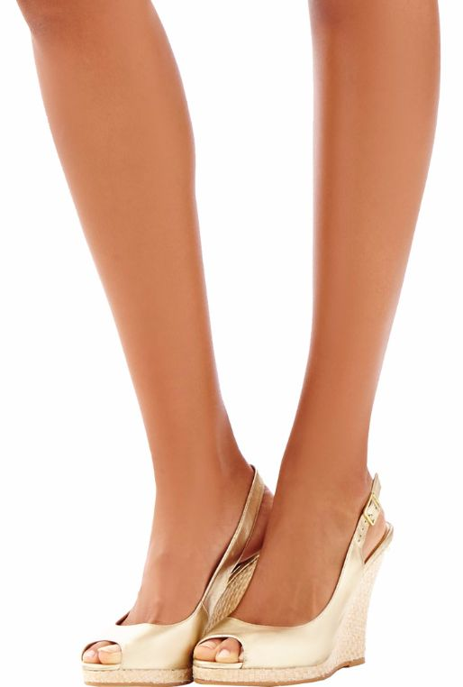 Gold Metallic Leather Wedge