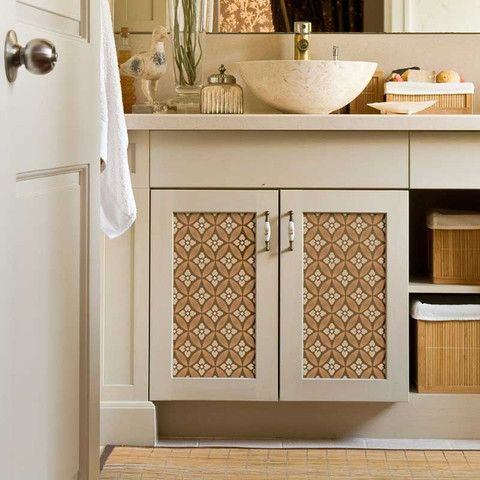 Furniture stencils-a great way to dress up and customize boring cabinet doors.