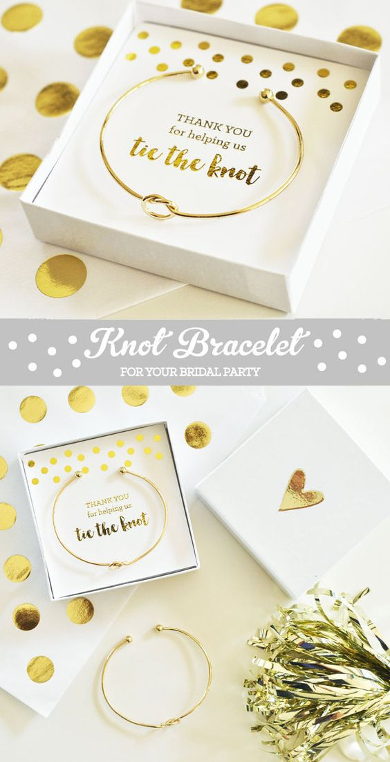 """Unique bridesmaid gifts and bridal party thank you gifts - Tie the Knot Bracelets say """"Thank you for helping us tie the knot"""" and packaged in a cute gift box.  by Mod Party"""