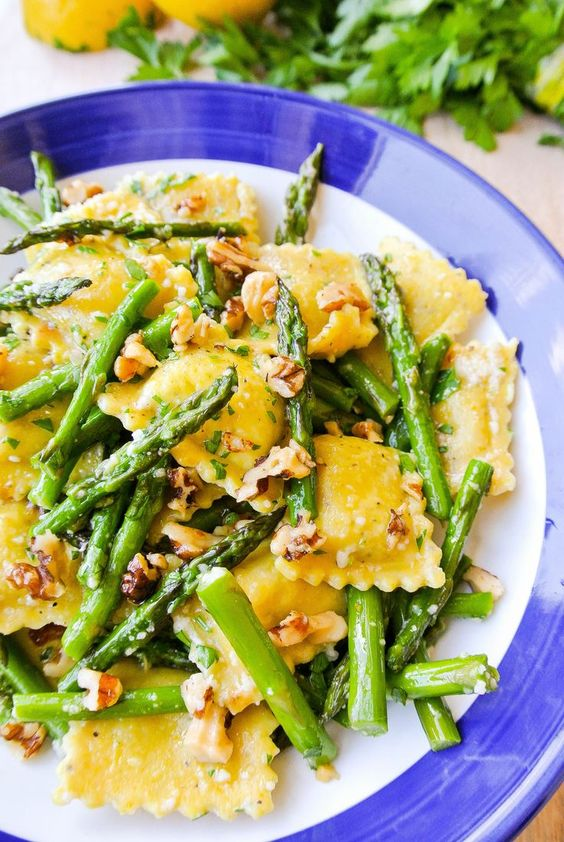 {ravioli with asparagus + walnuts in a lemon-brown butter sauce} you'll love this pasta dish that comes together in just 15 minutes!_