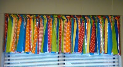 Whimsical Window- DIY Curtains made from Fabric and with Pinking Shears- A cute idea for a kids room or playroom!