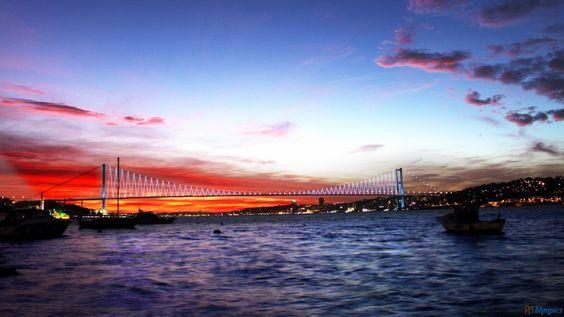 Istanbul Sunset | Sunset at Bosphorus Bridge in Istanbul Turkey Wallpaper