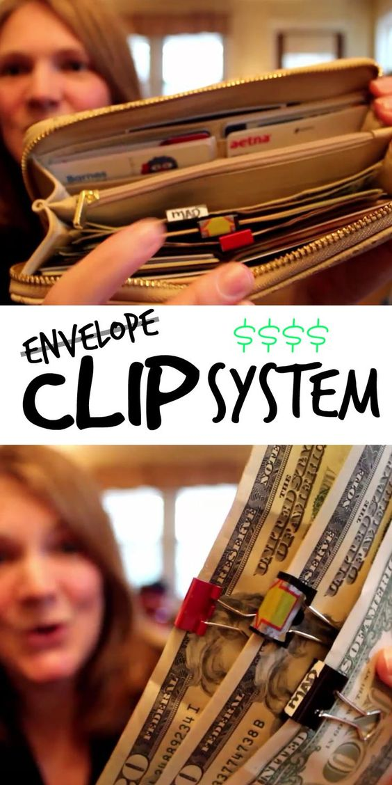 Cash Envelope System (with Clips!) Organize your cash in your wallet with color coded clips. EASY!