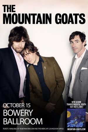 The Mountain Goats w/  Matthew E. White // Live at The Bowery Ballroom in NYC ::  Mon, October 15, 2012    -they were lovely.