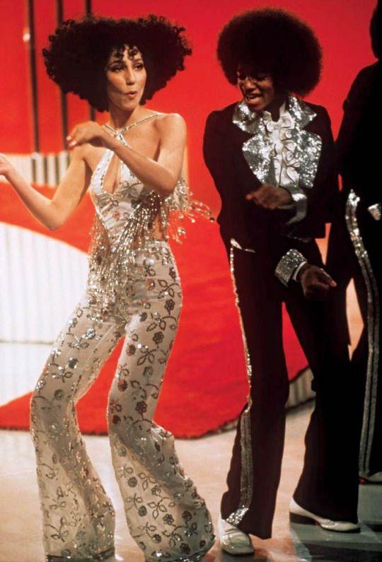 Cher (wearing Bob Mackie) & Michael Jackson, 1974, by Steve Schapiro