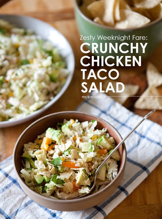 Try this crunchy chicken taco salad with a dash of lime, a ...
