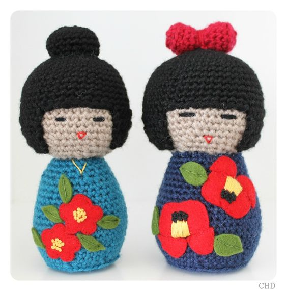 Amigurumi Rose Pattern Free : Kokeshi dolls, Amigurumi and Dolls on Pinterest