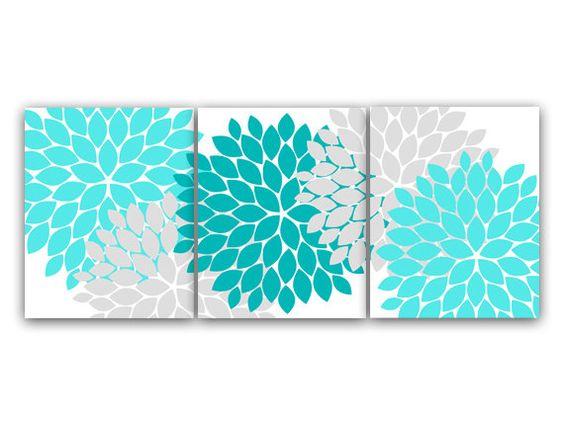 Etsy Teal Wall Decor : Home decor wall art aqua and gray flower burst
