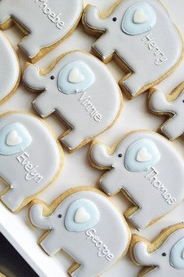 Cute Elephant for Baby Christening Iced Biscuits - Iced Cookies