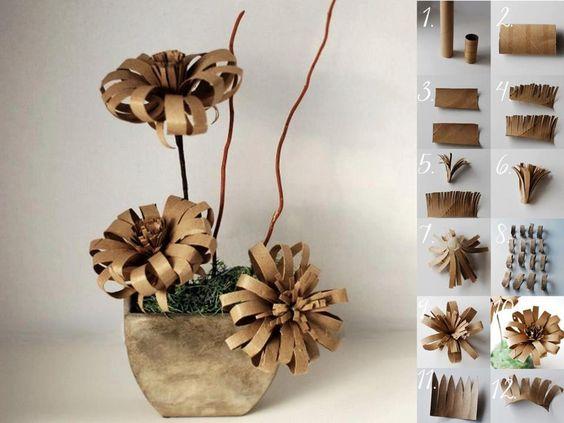Fleurs en rouleaux de papier WC