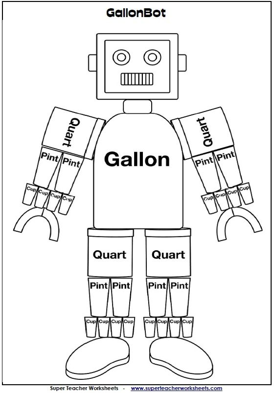Use Mr. Gallon in your classroom to help your students learn about gallons, quarts, pints, and cups!  link:  http://www.superteacherworksheets.com/pz-gallon-man.html