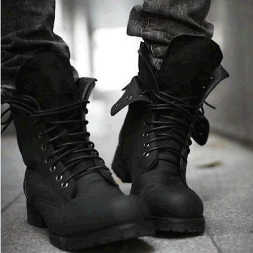 Mens Black Leather Lace Up Gothic Punk Military Style Battle Boots SKU